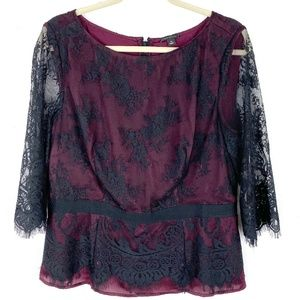 Ann Taylor lace fitted blouse top 3/4 sleeve